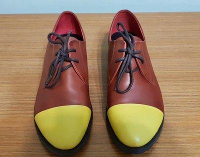 降@賣場鞋款大出清! 百貨專櫃 DA PHNE 皮鞋 牛津鞋【達芙妮 #37(23.5)】黃+咖啡 敲可愛款 9.9成新