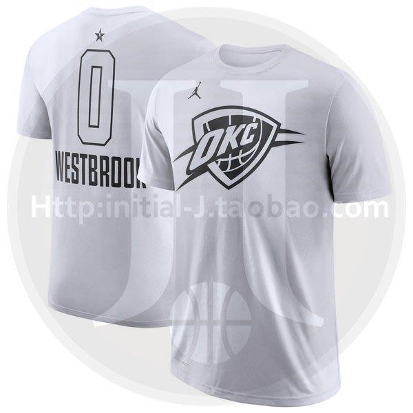 NBA2019全明星賽球衣 雷霆隊 13號喬治 George 0號威斯布鲁克Westbrook 白色T恤