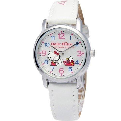 【 幸福媽咪 】網路購物、門市服務 Hello kitty 原廠公司貨 白色 皮帶腕錶 27mm KT570