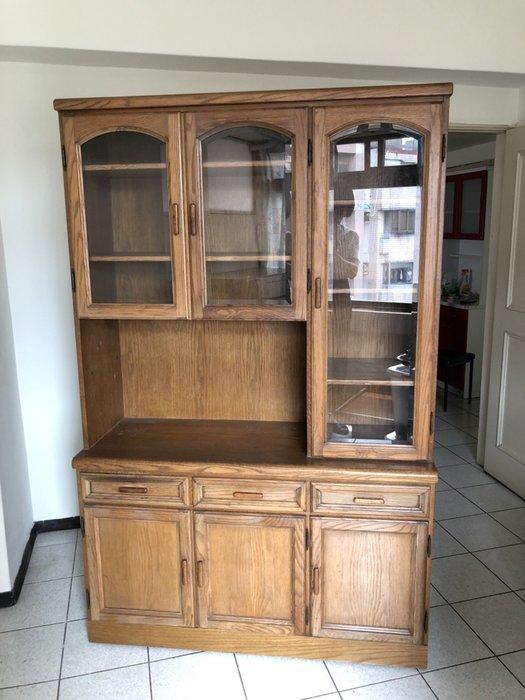 舊愛典藏- 高級柚木櫃 玻璃書櫃 展示櫃 酒櫃  需自取 品相如圖196*124*46 公分