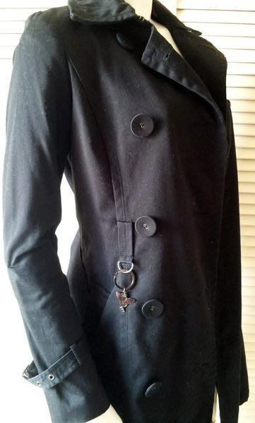 KNIGHTS BRIDGE 黑色雙排扣金屬配飾大衣