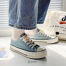 EmmaShop艾購物-復古經典厚底帆布鞋/包鞋/休閒鞋/經典牛仔藍