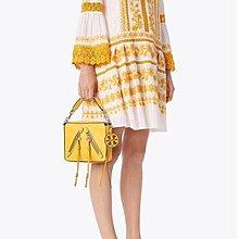 Alina精品代購 TORY BURCH 美國輕奢時尚 羊皮流蘇小手提包 黃色 斜背包 美國代購