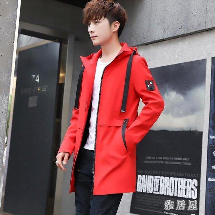 2018秋冬季新款外套男韓版潮流夾克男裝帥氣修身學生風衣中長款上 LN777