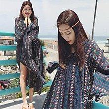 波希米亞V領寬鬆洋裝 民族風洋裝 波希米亞洋裝 渡假連身裙 飄逸連身裙 寬鬆洋裝 大V領洋裝 366