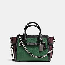 Coco小舖COACH 37003 S wagger 20 with chain in pebble leather綠色