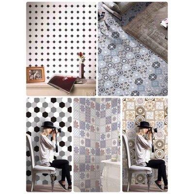 現貨 ✯ 限時特價!現代古典風格花磚 六角磚牆貼 壁貼 踢腳板 自黏花磚貼