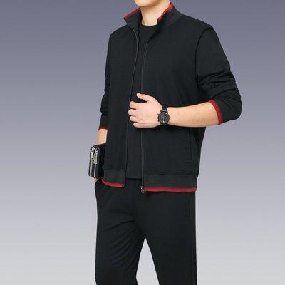 男防風外套夾克風衣2020春秋新款可定制LOGO季爸爸裝休閑套裝男士中年兩件套大碼衣服