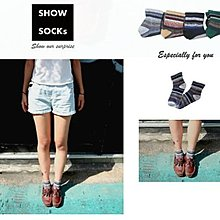 【4雙】S-SOCKs-文青風寬口條紋系列-中長襪子 /短襪/棉襪/女襪/男襪/學生襪/長襪/船型襪/隱形襪/可愛襪