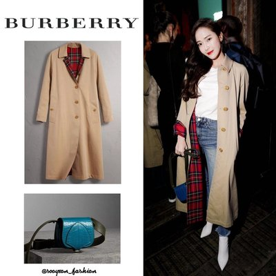 已售出*BURBERRY,全球斷貨款 格紋雙面長版 風衣 / 李聖經  Jessica 同款