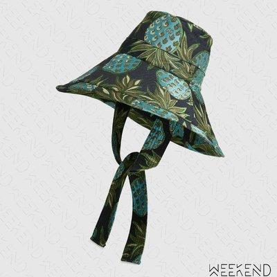 【WEEKEND】 GUCCI 金銀絲線 鳳梨 超大帽沿 漁夫帽 帽子 628553