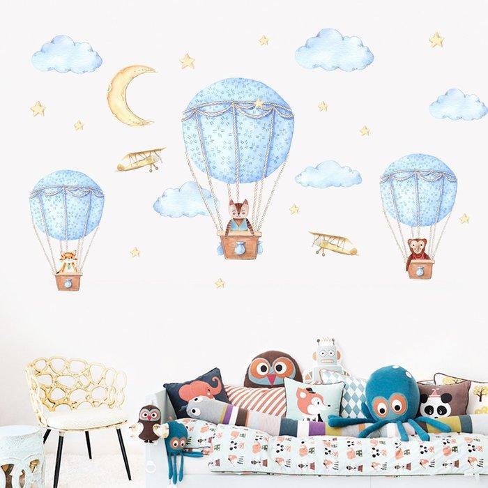 JM7343時尚熱氣球壁貼.60*90卡通牆貼.萌萌豬生活館