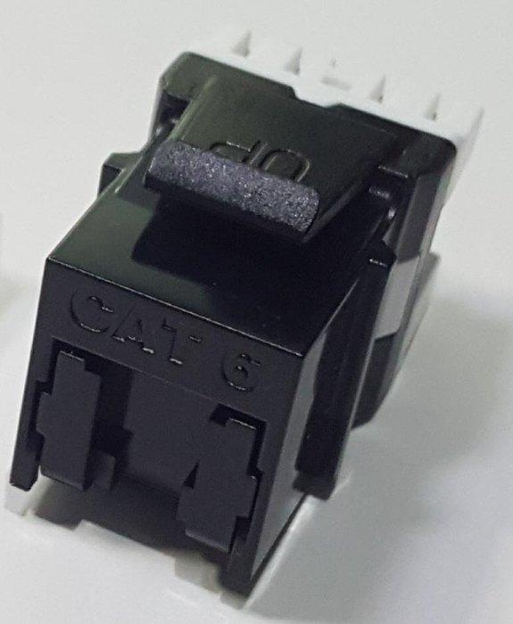 瘋 ~ 全新 高品質 CAT.6 資訊插座 180度 模組式 自動 防塵蓋 黑色 單顆獨立包裝 F-JACK keystone 資訊座面板 8p8
