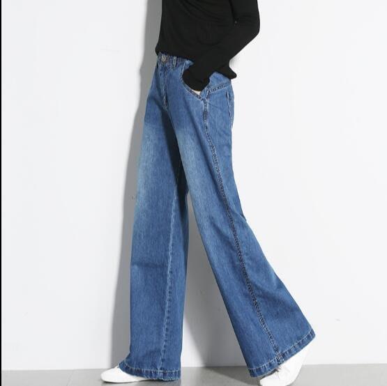牛仔褲 高腰闊腿褲女加絨牛仔褲直筒褲複古加厚長褲大碼寬松 女褲子
