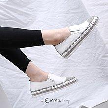EmmaShop艾購物-秋冬真皮鞋頭厚底水鑽鬆糕鞋/樂福鞋/