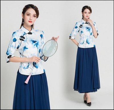~~Miss Goddess~~民族風旗袍上衣春夏年輕中式唐裝大碼復古七分袖改良版漢服兩件套