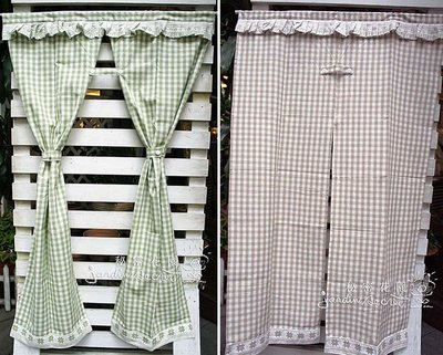 門簾窗簾--日本進口鄉村風格子厚磅純棉中開門簾/窗簾-90*150cm--四色--秘密花園