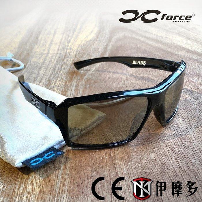 伊摩多※XFORCE BLADE偏光版 。亮黑休閒太陽眼鏡 淺色鏡面茶 抗UV 輕量框28g 登山慢跑 自行車 重機出遊