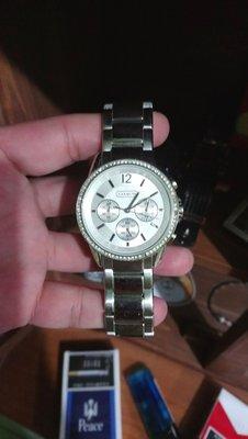 COACH 三眼計時腕錶適合潮男穩重人士 女性也很適合貴氣保證COACH真品
