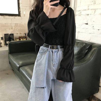 小香風 短袖T恤 時尚穿搭 喇叭袖黑色襯衫女復古港味 韓版 方領百搭氣質上衣潮