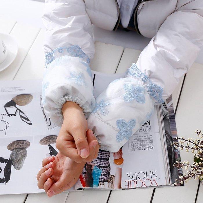 可愛護袖學生套袖長款成人工作袖套女短款拼接雙層網紗袖筒