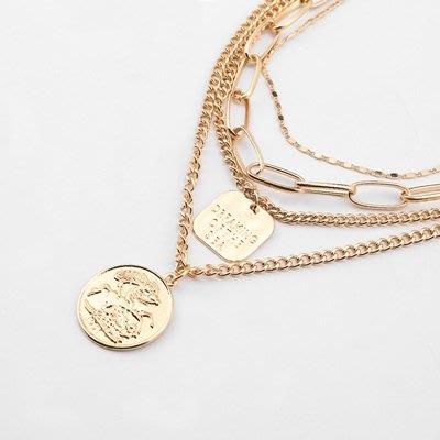 項鍊 合金 鎖骨鍊-多層硬幣吊牌生日情人節禮物女飾品73uz1[獨家進口][巴黎精品]