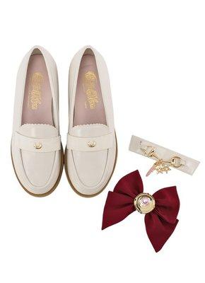 預訂台灣Grace Gift-美少女戰士變身器緞帶樂福鞋(米白)