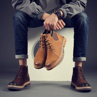 【時尚先生男裝】秋季男士英倫馬丁靴男韓版潮流高幫男鞋復古中幫工裝短靴子男MF0393
