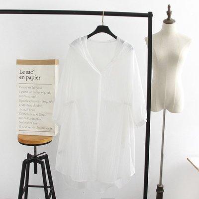 【玫瑰皇后】  韓版-大碼女裝2019夏裝新款4色顯瘦連帽中長款防曬風衣A1680  白