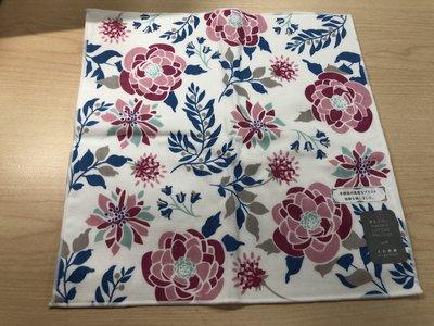日本製 手捺染 棉紗材質花朵 方巾