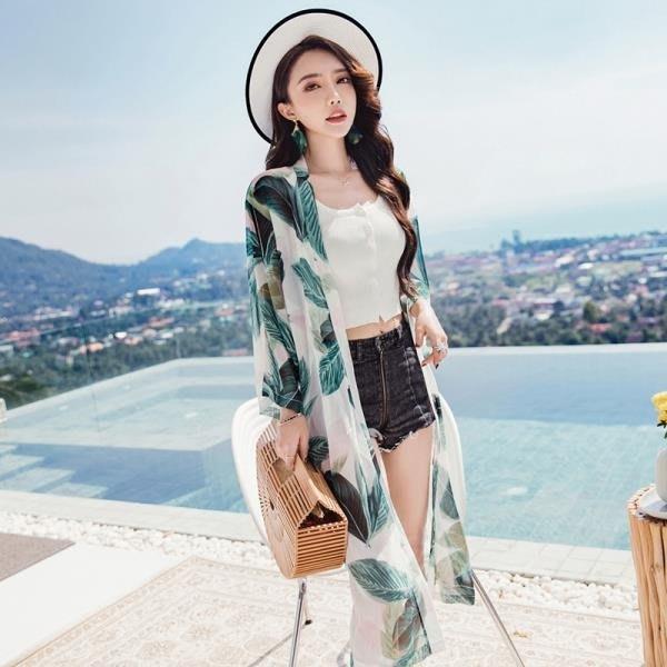 泰國海灘沙灘防曬衣外套女夏中長款海邊度假花雪紡開衫披肩薄上衣