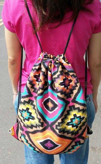 (特價檔)原民風/印第安風/民族風織布後背包(48*38) 清新風 圖騰 粗棉繩 抽繩束口袋 棉帆布包 收納袋 束口包