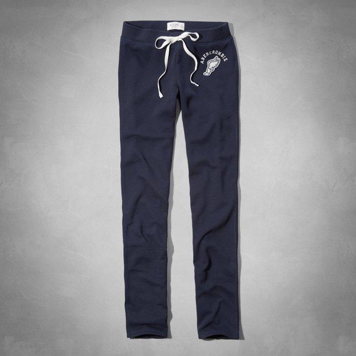 【天普小棧】A&F Abercrombie&Fitch Skinny Sweatpants休閒棉褲運動長褲深藍S號