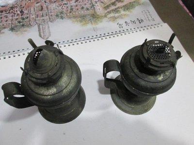 早期 古董全銅煤油燈一對(擺飾用,無法使用)