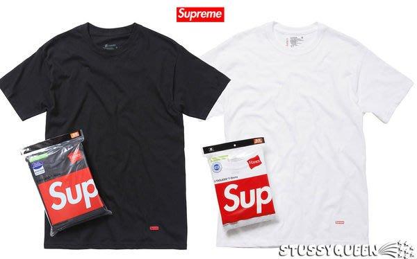 【超搶手】全新正品 熱賣款 Supreme x Hanes Tagless Tee 黑色 白色 S M L XL 拆包 單件