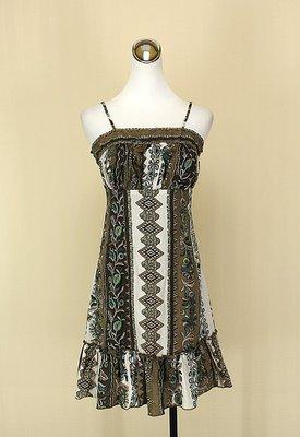 貞新二手衣 SONSY 采夏 橄欄綠民俗圖紋平口細肩帶棉質洋裝F號(16307)