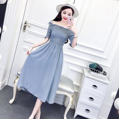 夏裝2018新款女韓版氣質高腰顯瘦中長款短袖木耳邊一字領連衣裙潮