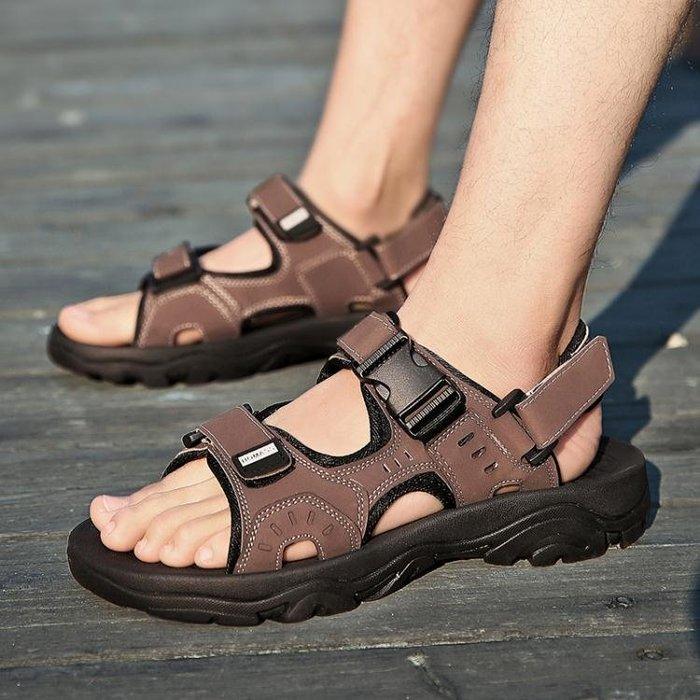 夏季涼鞋男透氣鞋子男士沙灘鞋男休閒鞋運動防滑耐磨戶外拖鞋