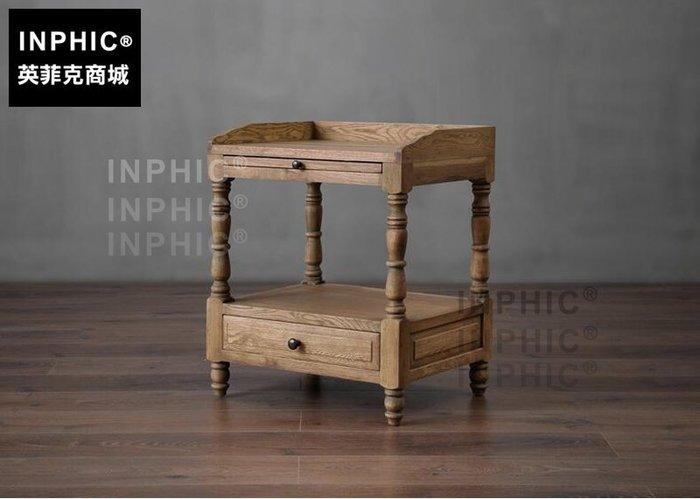 INPHIC-歐美式鄉村臥室橡木架床頭櫃 法式復古家具沙發 角櫃_S1910C