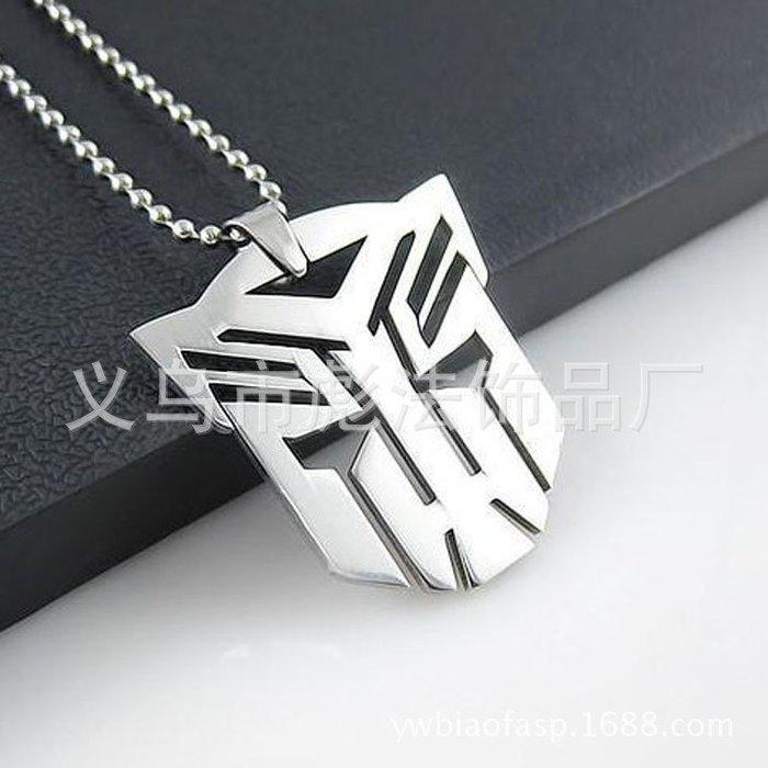 【流行潮包】男士韓版不銹鋼變形金鋼項鍊變形金鋼吊墜鈦鋼首飾卡通