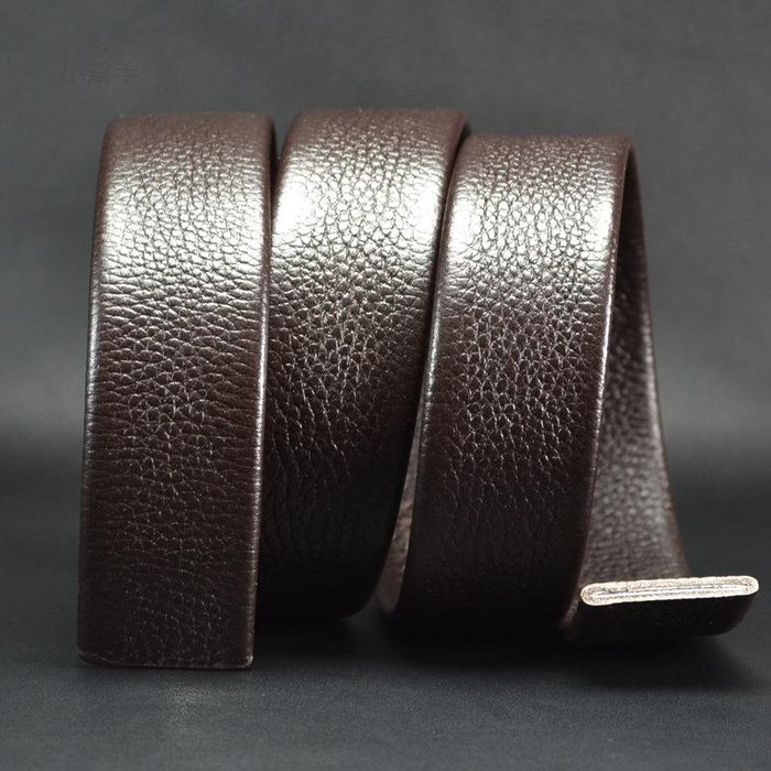 雙面頭層牛皮自動扣帶條皮帶帶身啡色寬3.5CM不帶扣頭ZD138 /四月雜貨舖/
