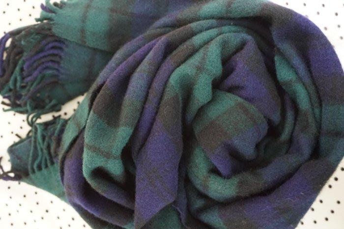 蘇格蘭藍綠色100羊毛披肩uniq.zara.mk.h&m.icb.ca.gap.nuee.a&f.a la.iro.m