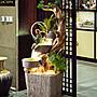假山流水噴泉田園客廳落地室內庭院石磨根雕加濕魚池開業招財擺件小豬佩奇