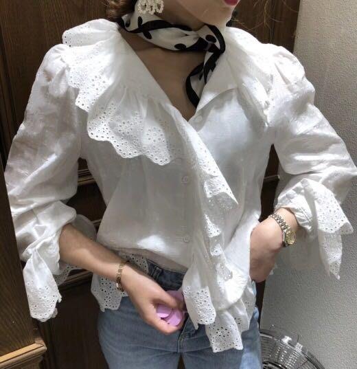 EVA精緻坊【韓國衣飾】【浪漫荷葉燒花上衣 罩衫】現貨