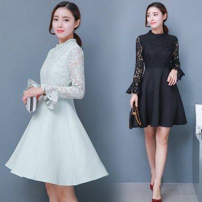 女装春装2017新款潮韩版修身收腰喇叭袖蕾丝连衣裙蓬蓬裙子