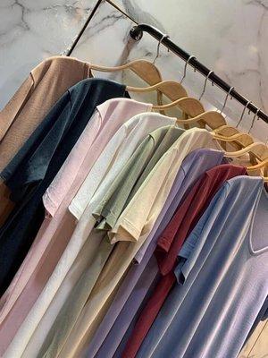 V167-水蜜桃絲質涼感素面T恤-正韓-Mena韓國精品服飾