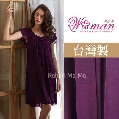 華蒂娜睡衣/台灣製輕柔絲質睡衣/舒適居家裙裝.洋裝 551 中大尺碼睡衣/大尺寸 兔子媽媽