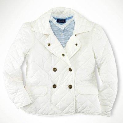 全新 ~ RALPH LAUREN POLO 白色 菱格紋 鋪棉外套 XL(16) 2890元 *大人可參考*
