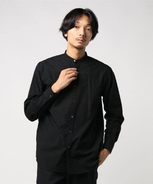 全新日本專櫃正品 UNITED ARROWS 黑色/海軍藍暗緹花織設計窄版亨利領襯衫 S號