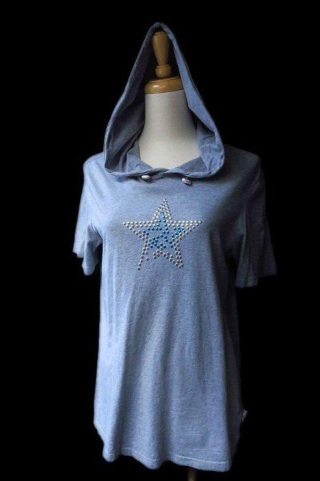 *Beauty*WHY &1/2灰色星星鉚釘短袖連帽T恤  15 號  R 女大童 大人可穿
